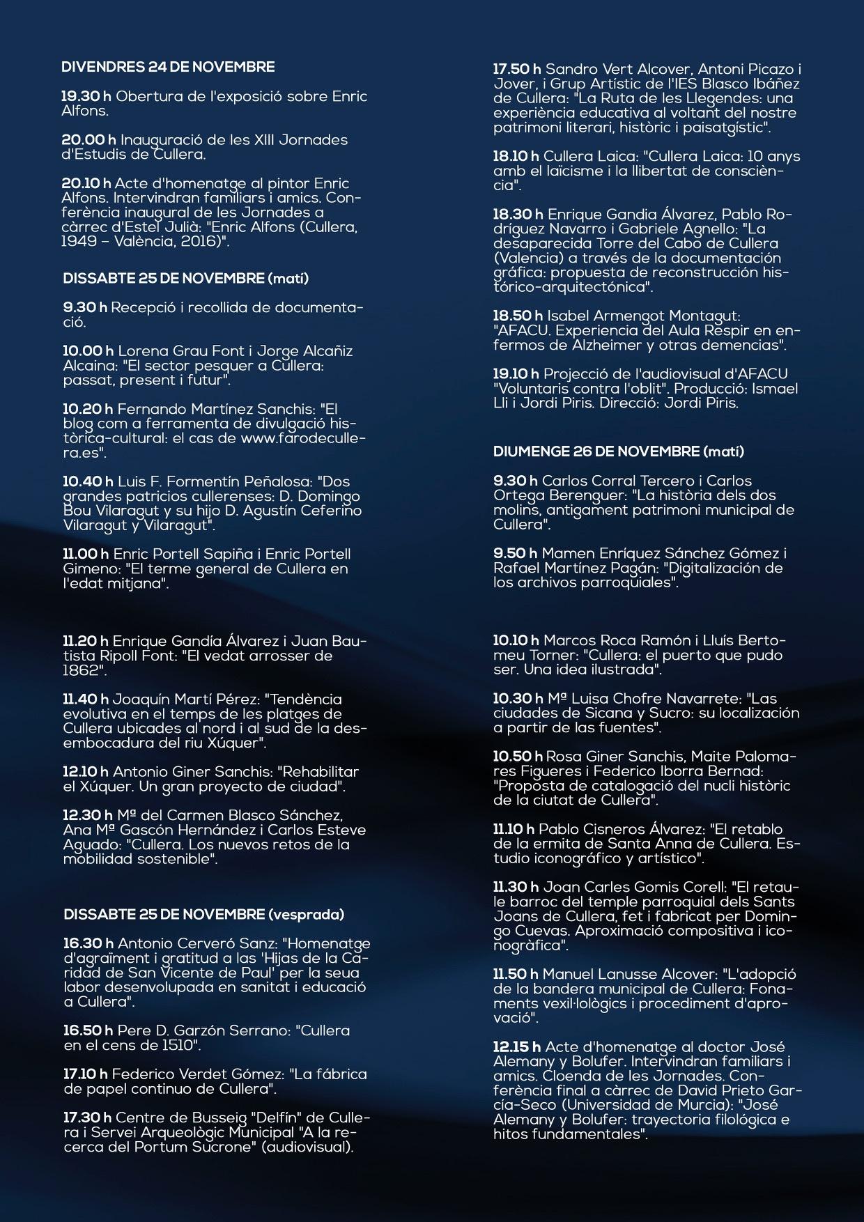 Programa XIII Jornades Estudis Cullera 2017