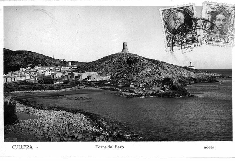 Postal donde aparece el caserío y la torre del Cap de Cullera